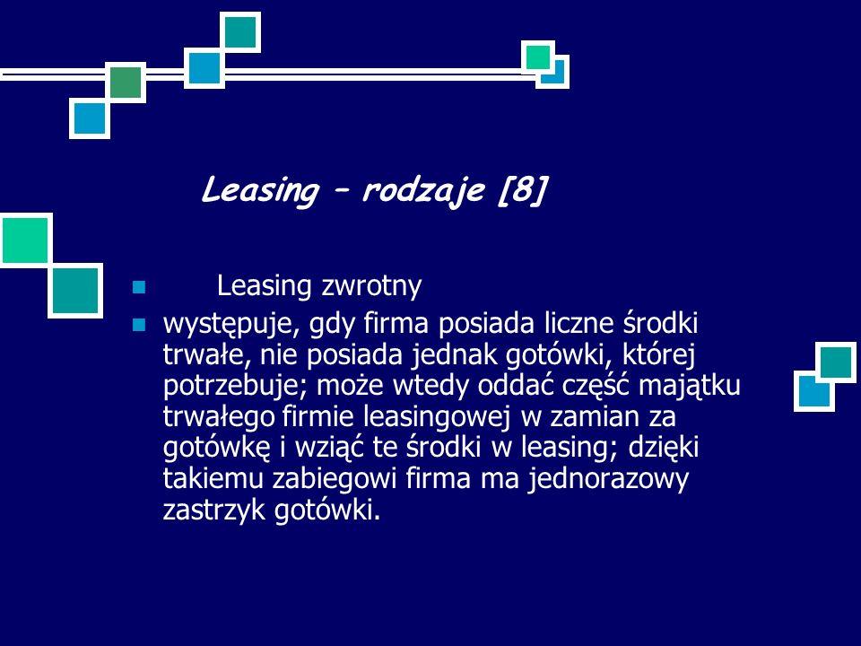Leasing – rodzaje [8] Leasing zwrotny